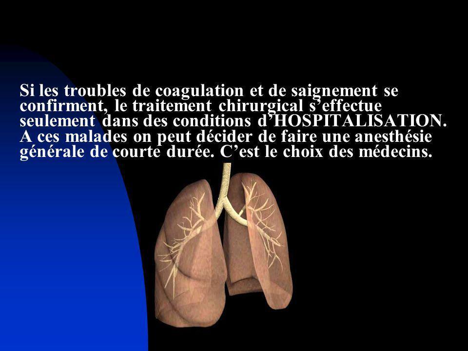 Si les troubles de coagulation et de saignement se confirment, le traitement chirurgical seffectue seulement dans des conditions dHOSPITALISATION. A c