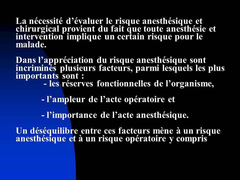 La nécessité dévaluer le risque anesthésique et chirurgical provient du fait que toute anesthésie et intervention implique un certain risque pour le m