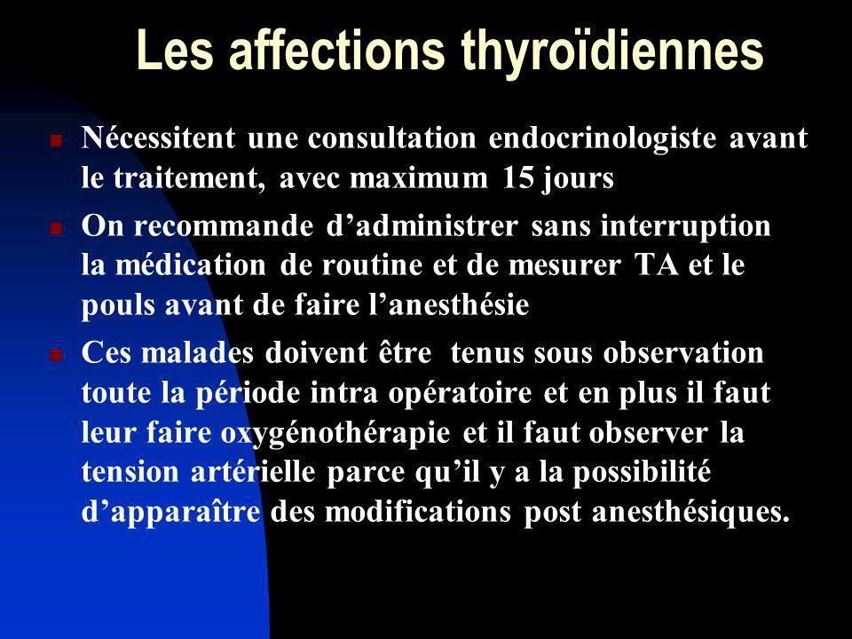 Les affections thyroïdiennes Nécessitent une consultation endocrinologiste avant le traitement, avec maximum 15 jours On recommande dadministrer sans