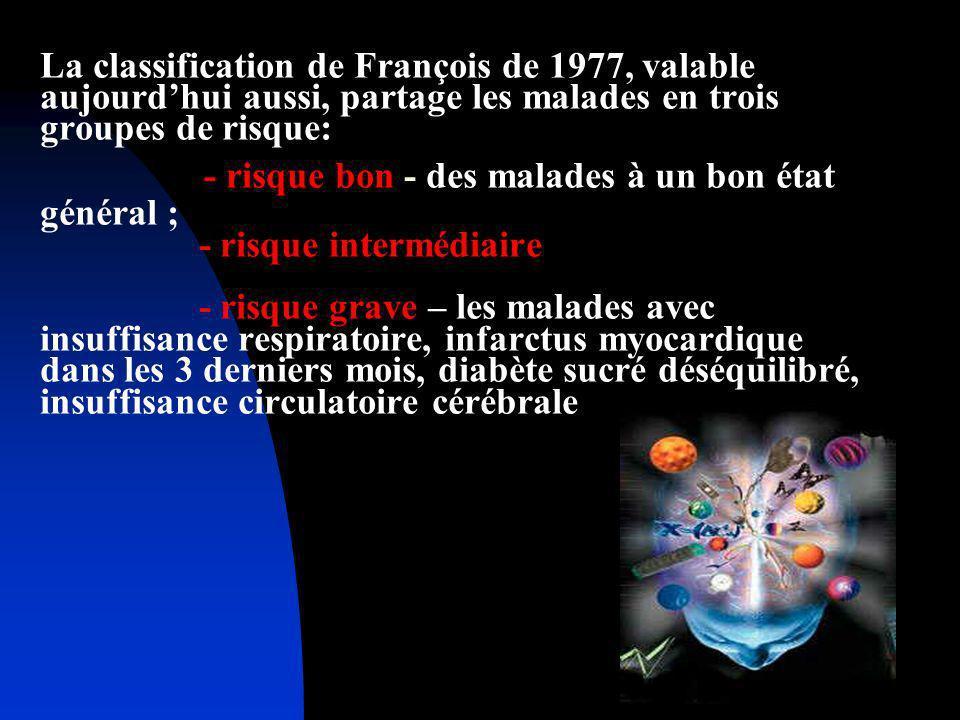 La classification de François de 1977, valable aujourdhui aussi, partage les malades en trois groupes de risque: - risque bon - des malades à un bon é
