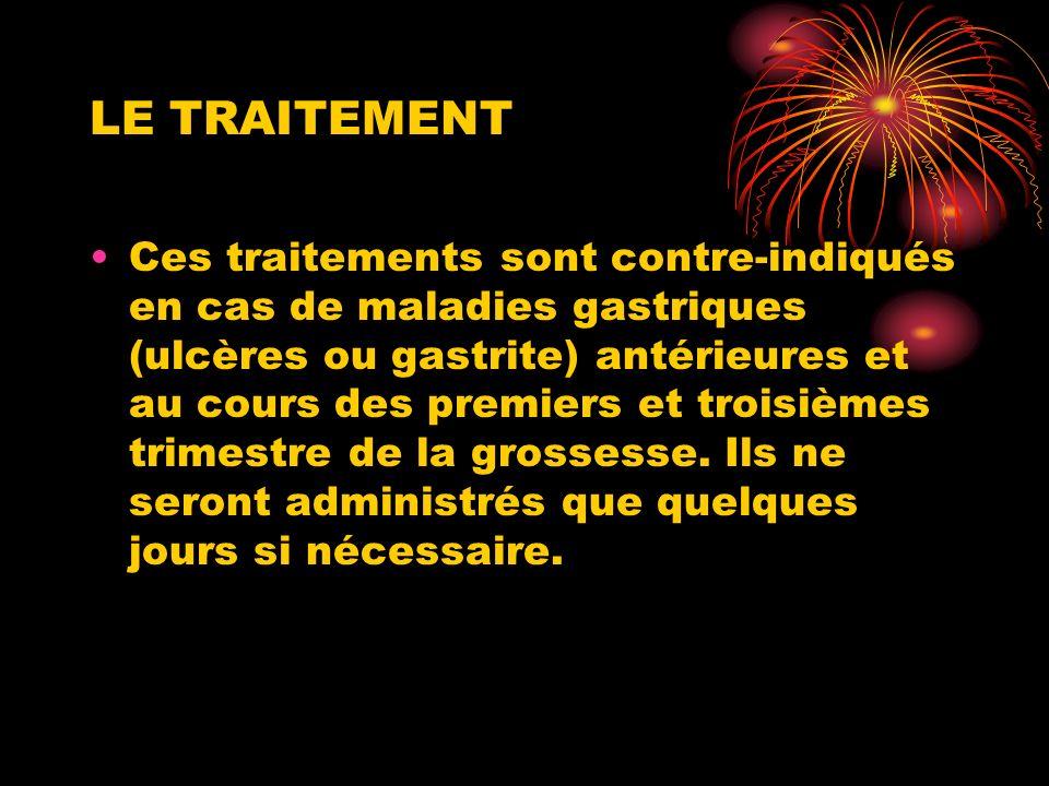 LE TRAITEMENT Ces traitements sont contre-indiqués en cas de maladies gastriques (ulcères ou gastrite) antérieures et au cours des premiers et troisiè