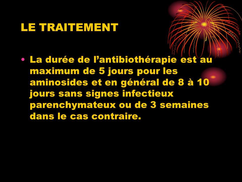 LE TRAITEMENT La durée de lantibiothérapie est au maximum de 5 jours pour les aminosides et en général de 8 à 10 jours sans signes infectieux parenchymateux ou de 3 semaines dans le cas contraire.