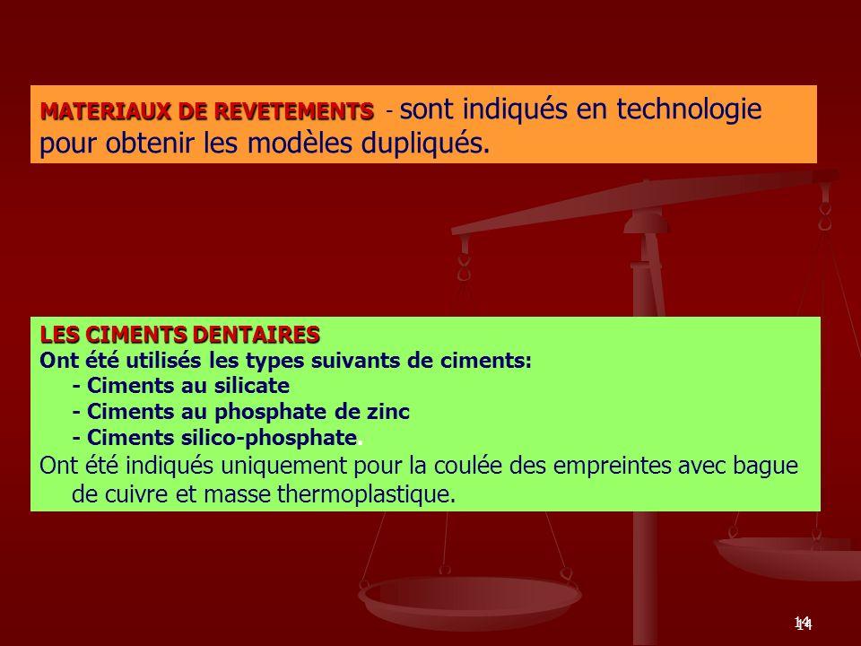 14 MATERIAUX DE REVETEMENTS MATERIAUX DE REVETEMENTS - sont indiqués en technologie pour obtenir les modèles dupliqués. LES CIMENTS DENTAIRES Ont été