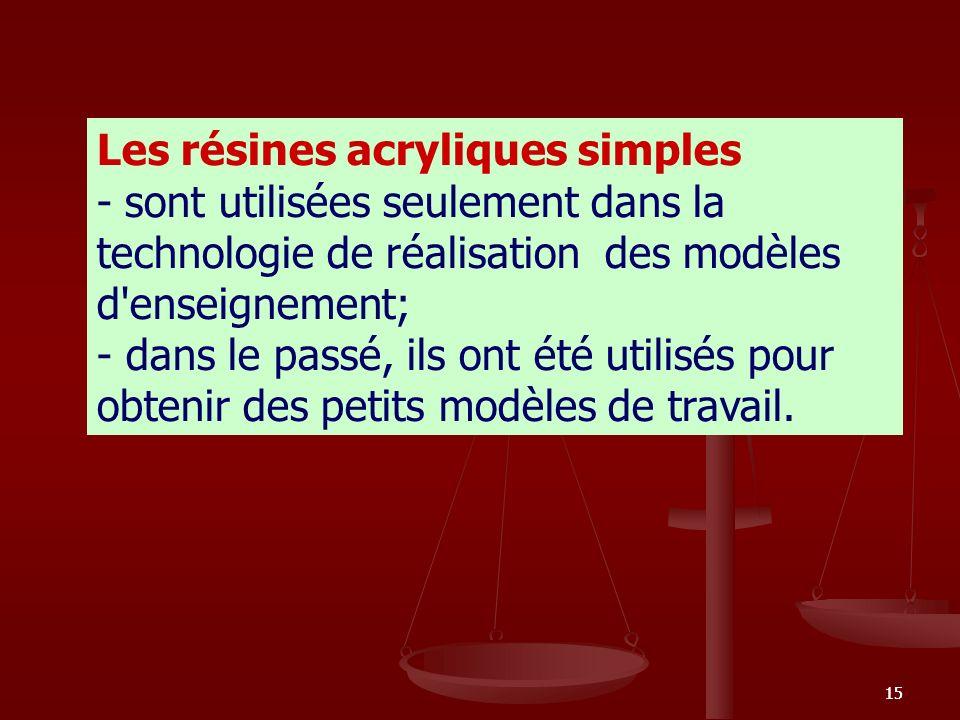 15 Les résines acryliques simples - sont utilisées seulement dans la technologie de réalisation des modèles d'enseignement; - dans le passé, ils ont é