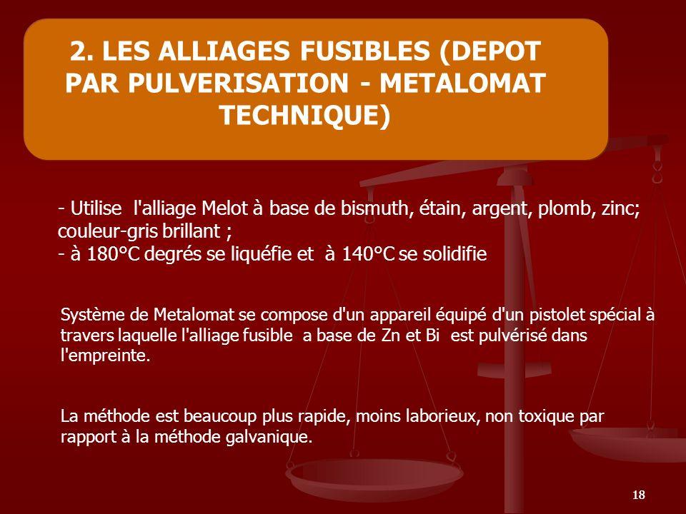 18 2. LES ALLIAGES FUSIBLES (DEPOT PAR PULVERISATION - METALOMAT TECHNIQUE) - Utilise l'alliage Melot à base de bismuth, étain, argent, plomb, zinc; c