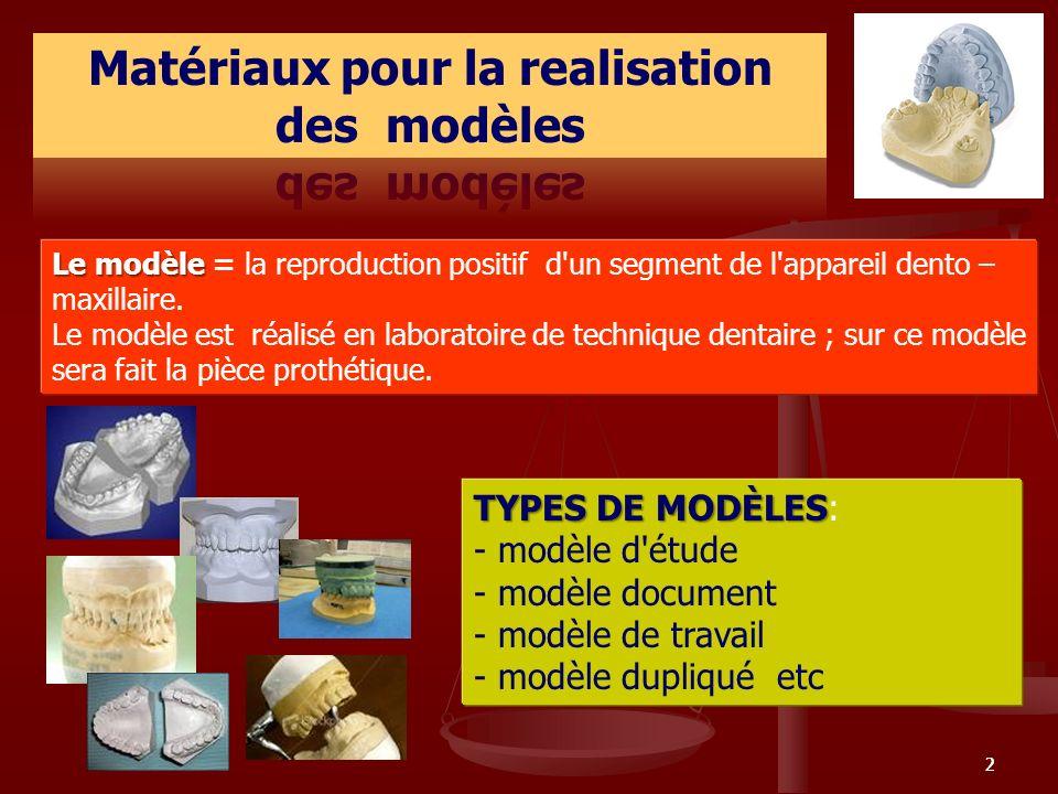 22 Le modèle Le modèle = la reproduction positif d'un segment de l'appareil dento – maxillaire. Le modèle est réalisé en laboratoire de technique dent