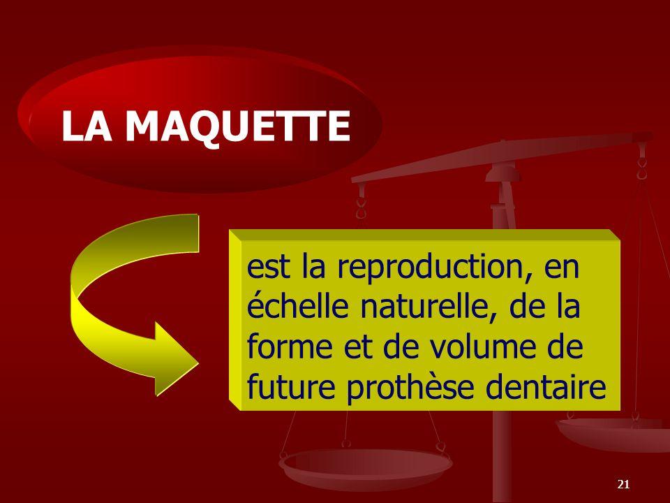 21 est la reproduction, en échelle naturelle, de la forme et de volume de future prothèse dentaire LA MAQUETTE