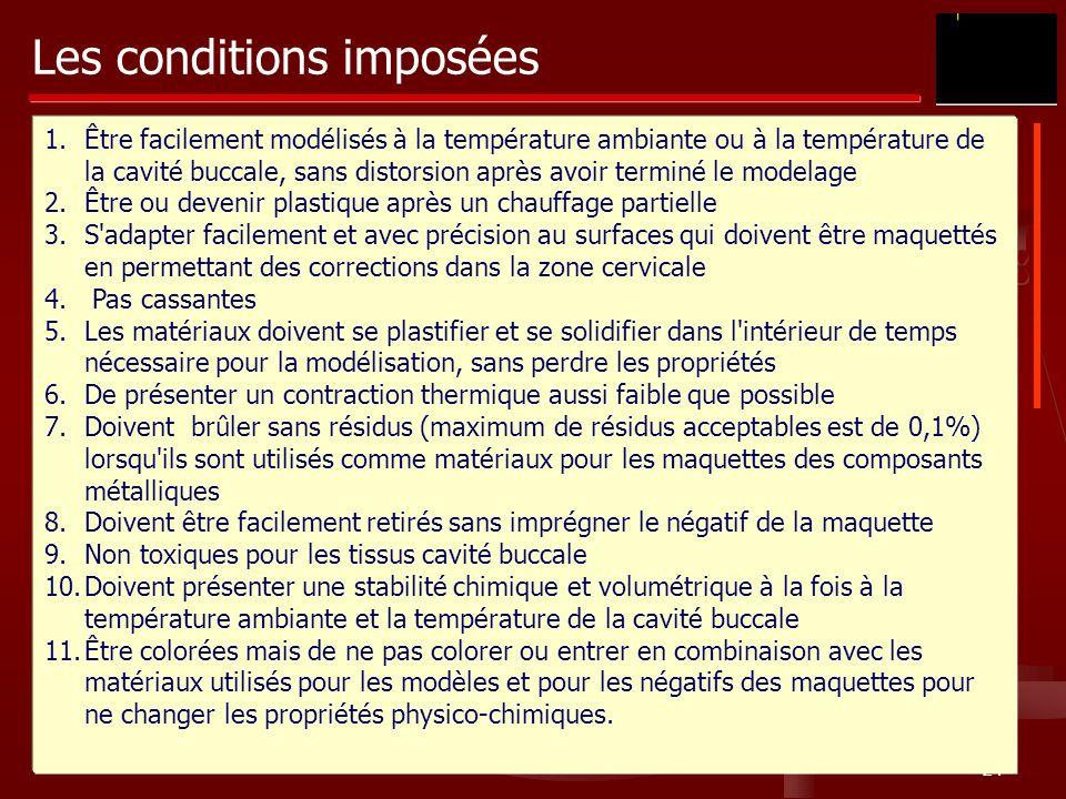24 Les conditions imposées 1.Être facilement modélisés à la température ambiante ou à la température de la cavité buccale, sans distorsion après avoir