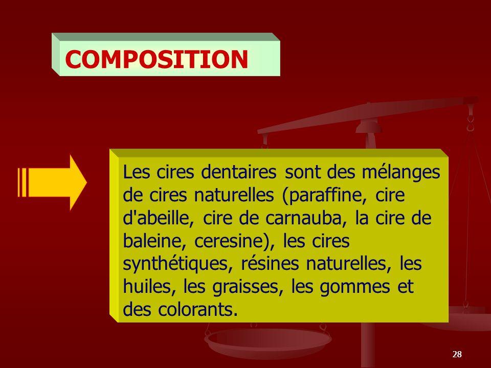 28 COMPOSITION Les cires dentaires sont des mélanges de cires naturelles (paraffine, cire d'abeille, cire de carnauba, la cire de baleine, ceresine),
