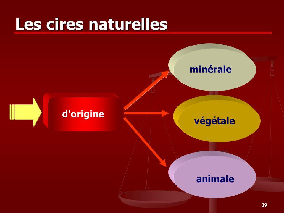 29 Les cires naturelles minérale végétale animale d'origine