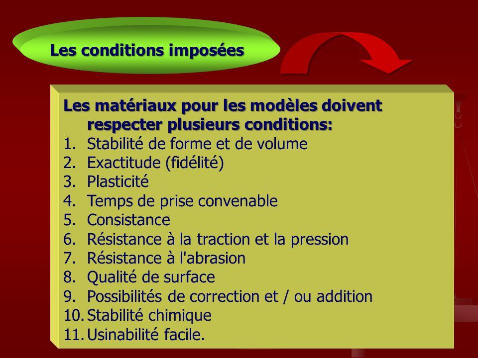33 Les matériaux pour les modèles doivent respecter plusieurs conditions: 1.Stabilité de forme et de volume 2.Exactitude (fidélité) 3.Plasticité 4.Tem