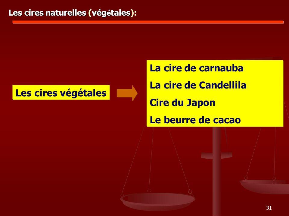 31 Les cires naturelles vég é tales Les cires naturelles (vég é tales): Les cires végétales La cire de carnauba La cire de Candellila Cire du Japon Le