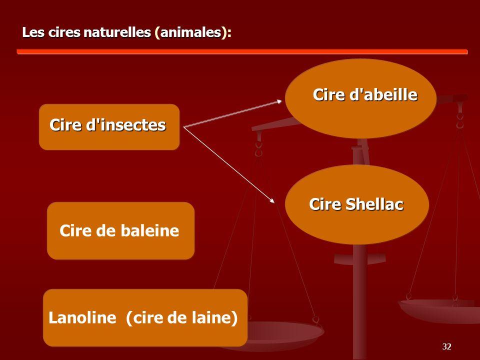 32 Cire d'insectes Les cires naturelles animales Les cires naturelles (animales): Cire Shellac Cire de baleine Lanoline (cire de laine) Cire d'abeille