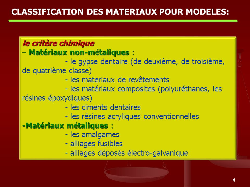 55 le critère technologique: Modèles obtenus par coulage : - le gypse - les materiaux de revêtements - les matériaux composites Modèles obtenus par compactage: - les amalgames - les ciments Modèles obtenus par dépôt de métal : - galvanoplastie - pulvérisation CLASSIFICATION DES MATERIAUX POUR MODELES: