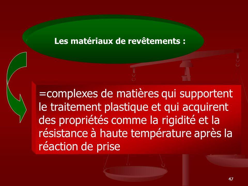 47 =complexes de matières qui supportent le traitement plastique et qui acquirent des propriétés comme la rigidité et la résistance à haute températur