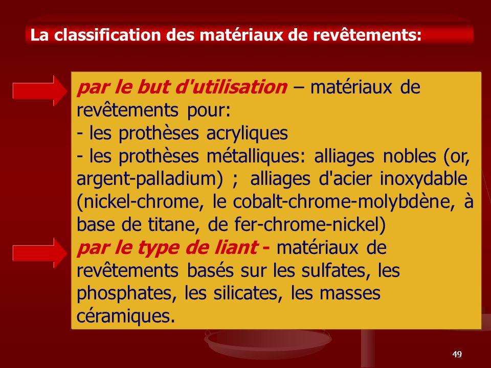 49 La classification des matériaux de revêtements: par le but d'utilisation – matériaux de revêtements pour: - les prothèses acryliques - les prothèse