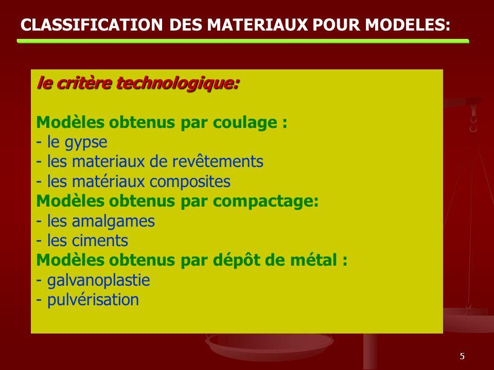 55 le critère technologique: Modèles obtenus par coulage : - le gypse - les materiaux de revêtements - les matériaux composites Modèles obtenus par co