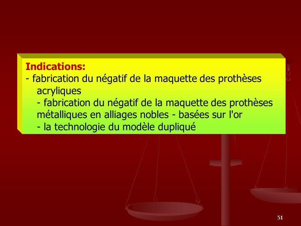 51 Indications: - fabrication du négatif de la maquette des prothèses acryliques - fabrication du négatif de la maquette des prothèses métalliques en