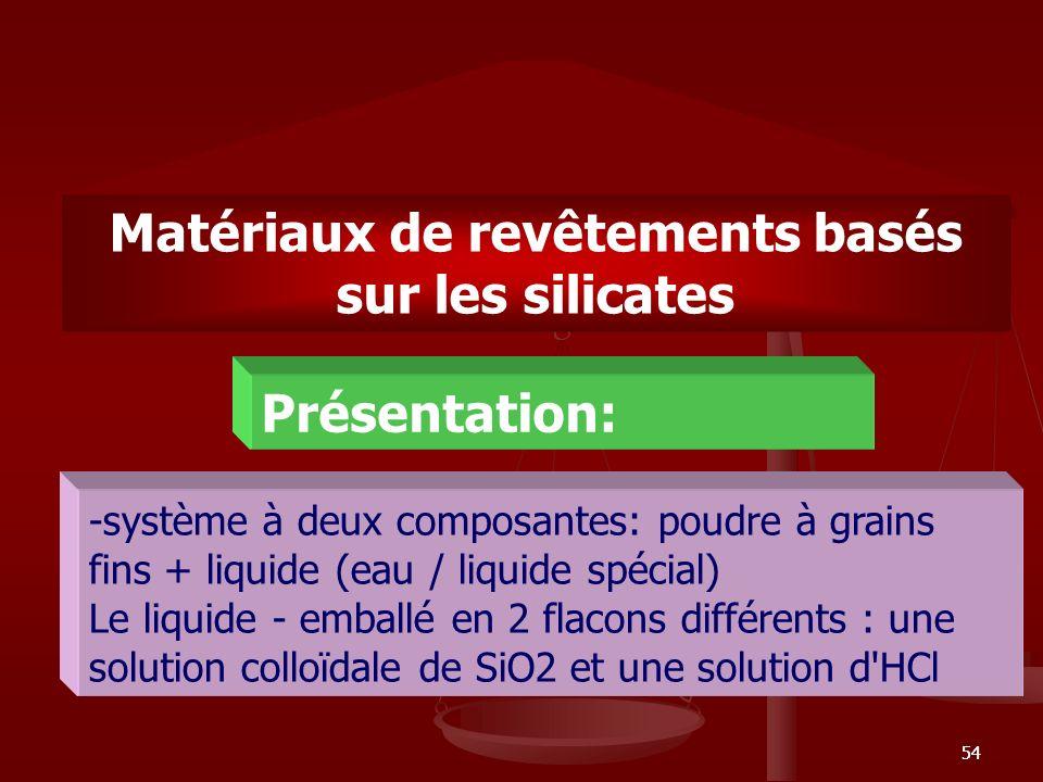 54 Matériaux de revêtements basés sur les silicates -système à deux composantes: poudre à grains fins + liquide (eau / liquide spécial) Le liquide - e