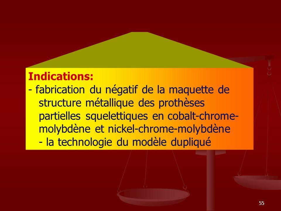 55 Indications: - fabrication du négatif de la maquette de structure métallique des prothèses partielles squelettiques en cobalt-chrome- molybdène et
