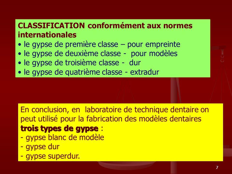 77 CLASSIFICATION conformément aux normes internationales le gypse de première classe – pour empreinte le gypse de deuxième classe - pour modèles le g
