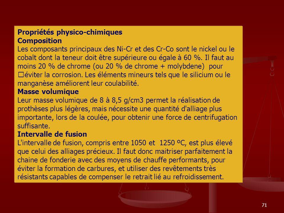 71 Propriétés physico-chimiques Composition Les composants principaux des Ni-Cr et des Cr-Co sont le nickel ou le cobalt dont la teneur doit être supé