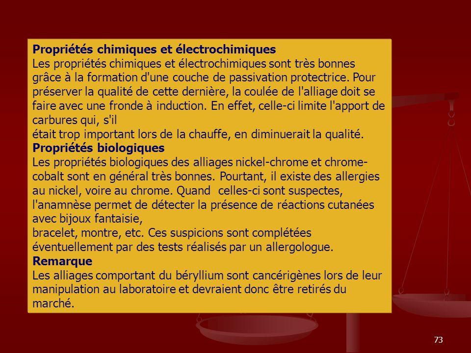 73 Propriétés chimiques et électrochimiques Les propriétés chimiques et électrochimiques sont très bonnes grâce à la formation d'une couche de passiva