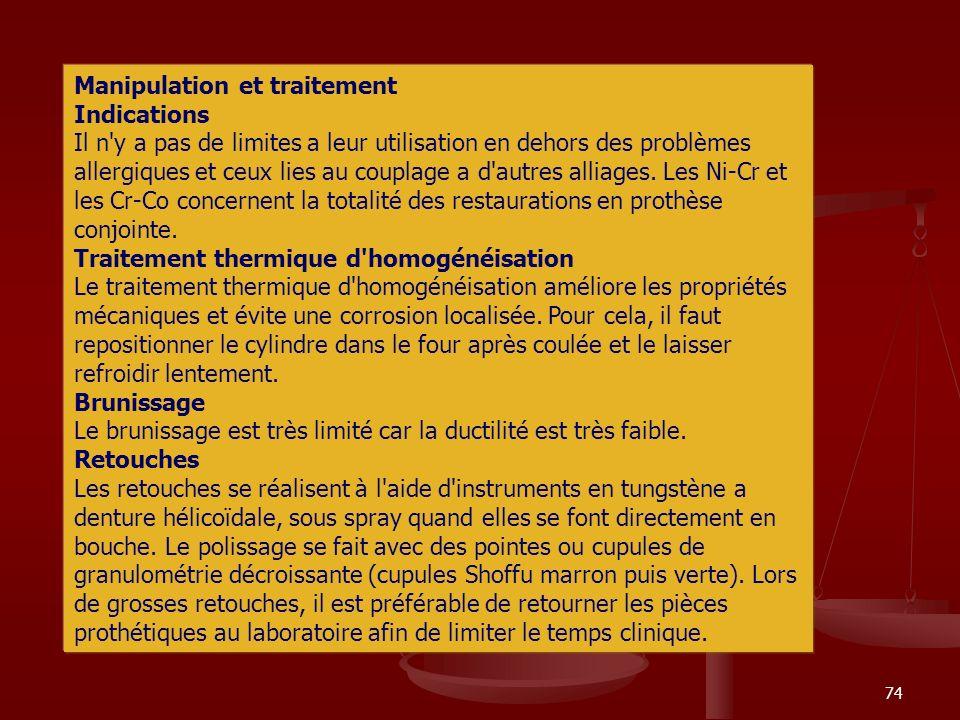 74 Manipulation et traitement Indications Il n'y a pas de limites a leur utilisation en dehors des problèmes allergiques et ceux lies au couplage a d'