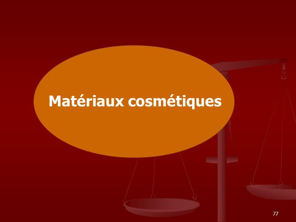 77 Matériaux cosmétiques