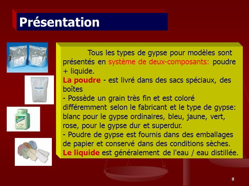 88 Tous les types de gypse pour modèles sont présentés en système de deux-composants: poudre + liquide. La poudre - est livré dans des sacs spéciaux,