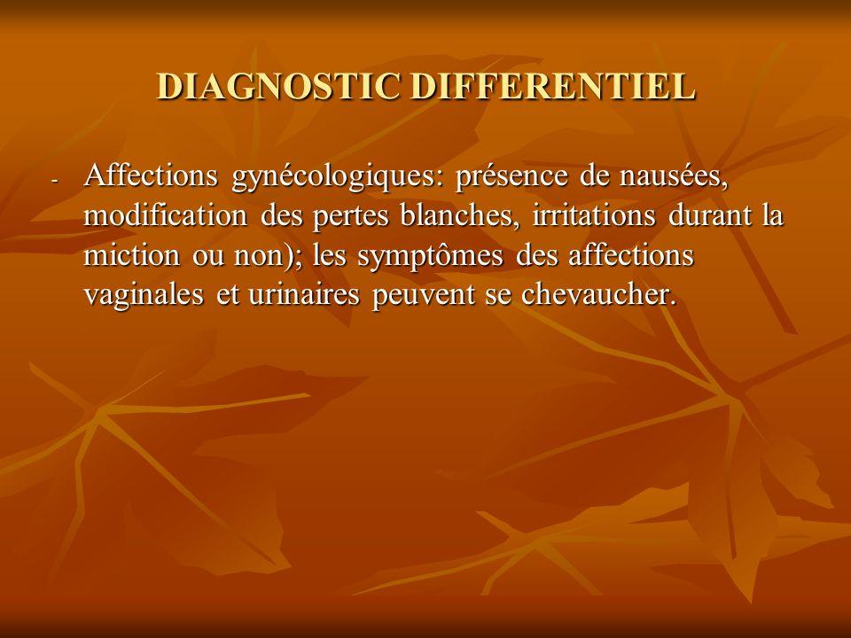 DIAGNOSTIC DIFFERENTIEL - Affections gynécologiques: présence de nausées, modification des pertes blanches, irritations durant la miction ou non); les