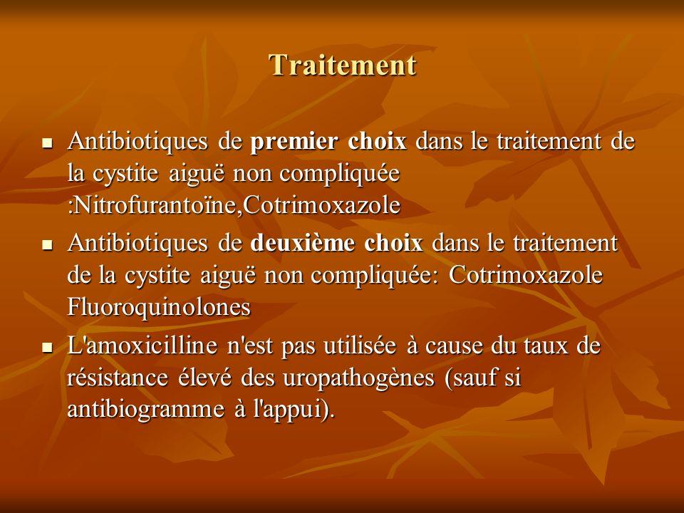 Traitement Antibiotiques de premier choix dans le traitement de la cystite aiguë non compliquée :Nitrofurantoïne,Cotrimoxazole Antibiotiques de premie