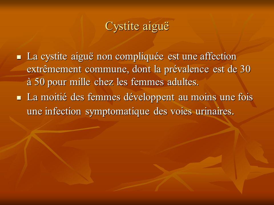 Cystite aiguë La cystite aiguë non compliquée est une affection extrêmement commune, dont la prévalence est de 30 à 50 pour mille chez les femmes adul