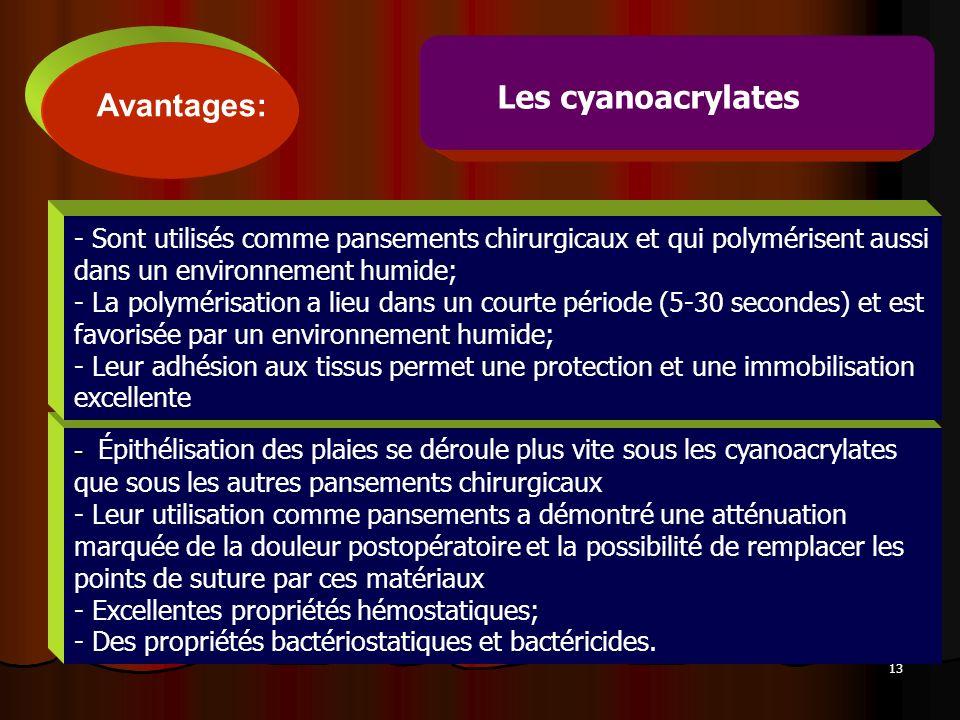 13 - - Épithélisation des plaies se déroule plus vite sous les cyanoacrylates que sous les autres pansements chirurgicaux - Leur utilisation comme pan