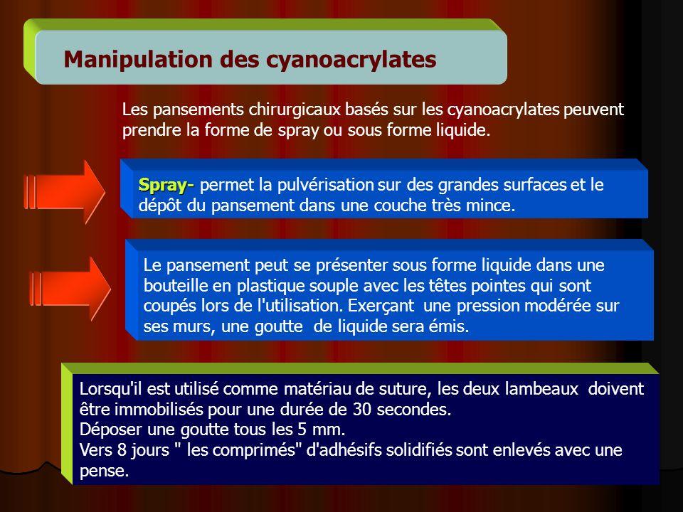 14 Manipulation des cyanoacrylates Les pansements chirurgicaux basés sur les cyanoacrylates peuvent prendre la forme de spray ou sous forme liquide. S