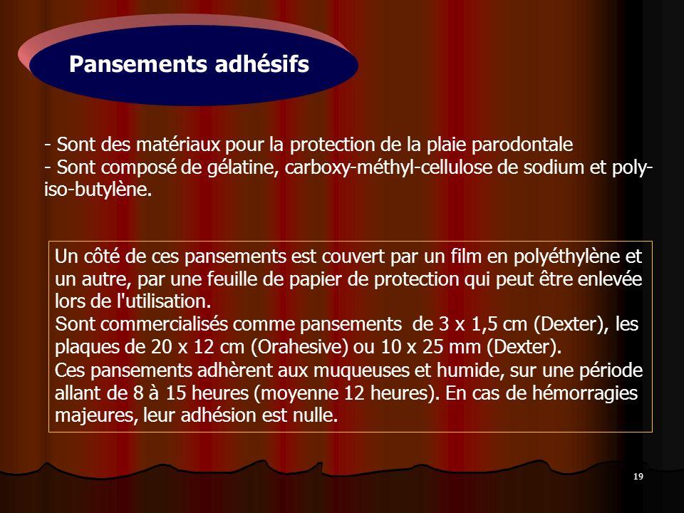 19 - Sont des matériaux pour la protection de la plaie parodontale - Sont composé de gélatine, carboxy-méthyl-cellulose de sodium et poly- iso-butylèn