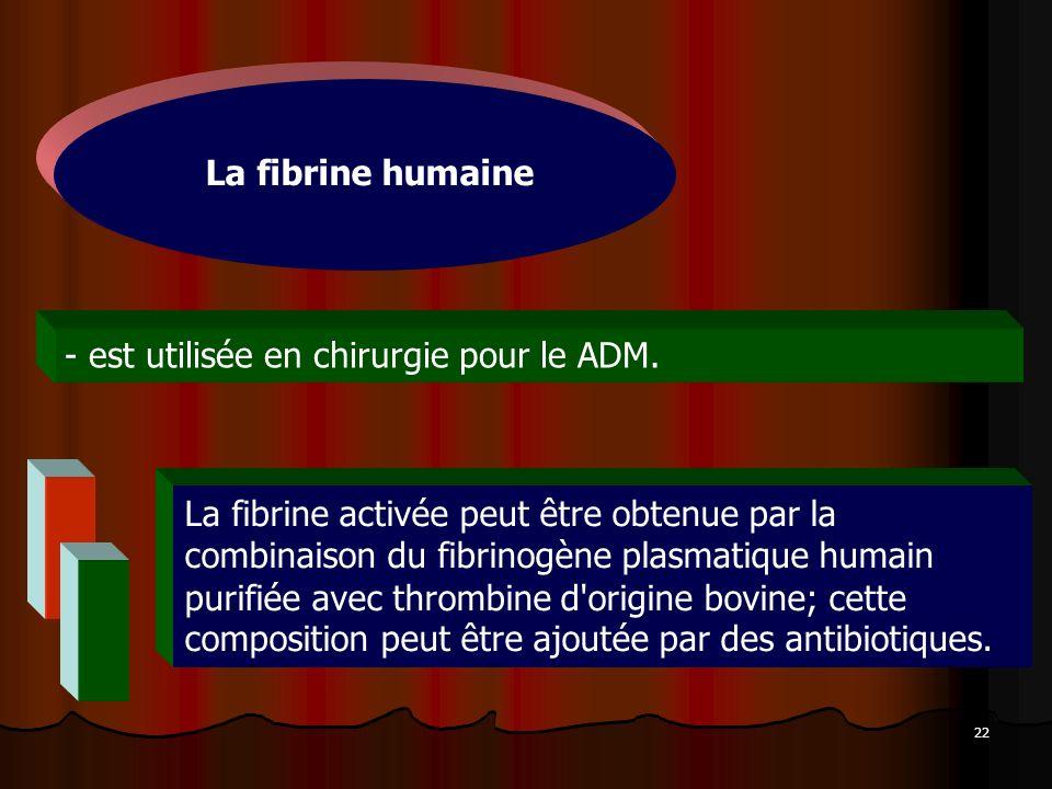 22 - est utilisée en chirurgie pour le ADM. La fibrine humaine La fibrine activée peut être obtenue par la combinaison du fibrinogène plasmatique huma
