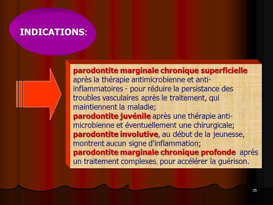 25 INDICATIONS: parodontite marginale chronique superficielle parodontite juvénile parodontite involutive parodontite marginale chronique profonde par