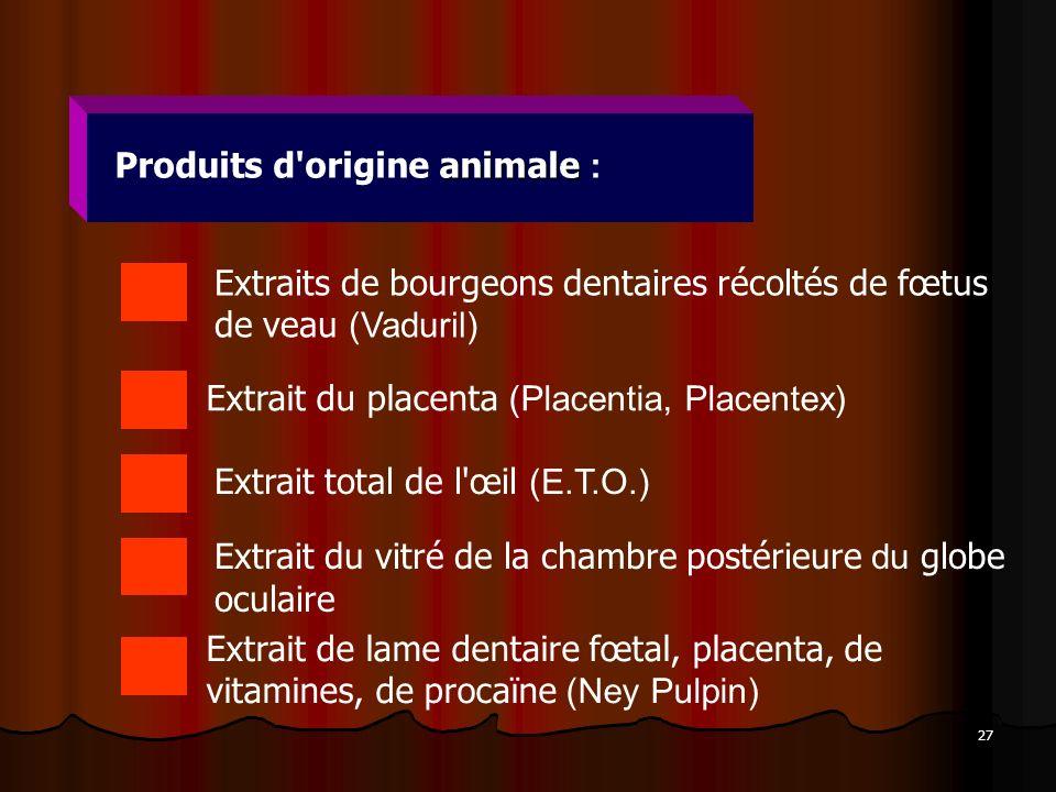 27 animale Produits d'origine animale : Extraits de bourgeons dentaires récoltés de fœtus de veau (Vaduril) Extrait du placenta (Placentia, Placentex)