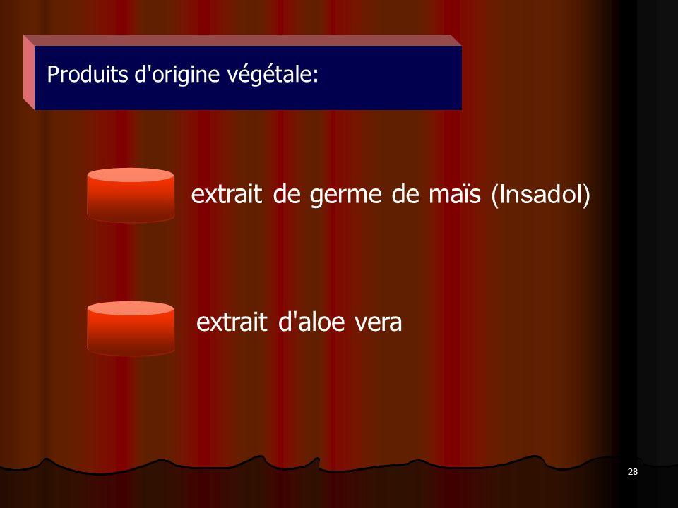 28 Produits d'origine végétale: extrait de germe de maïs (Insadol) extrait d'aloe vera