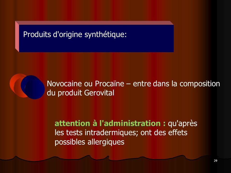 29 Produits d'origine synthétique: Novocaine ou Procaïne – entre dans la composition du produit Gerovital attention à l'administration : attention à l