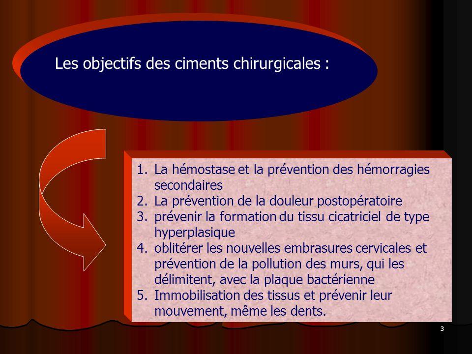3 1.La hémostase et la prévention des hémorragies secondaires 2.La prévention de la douleur postopératoire 3.prévenir la formation du tissu cicatricie