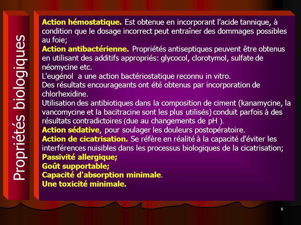 6 Propriétés biologiques Action hémostatique. Est obtenue en incorporant l'acide tannique, à condition que le dosage incorrect peut entraîner des domm
