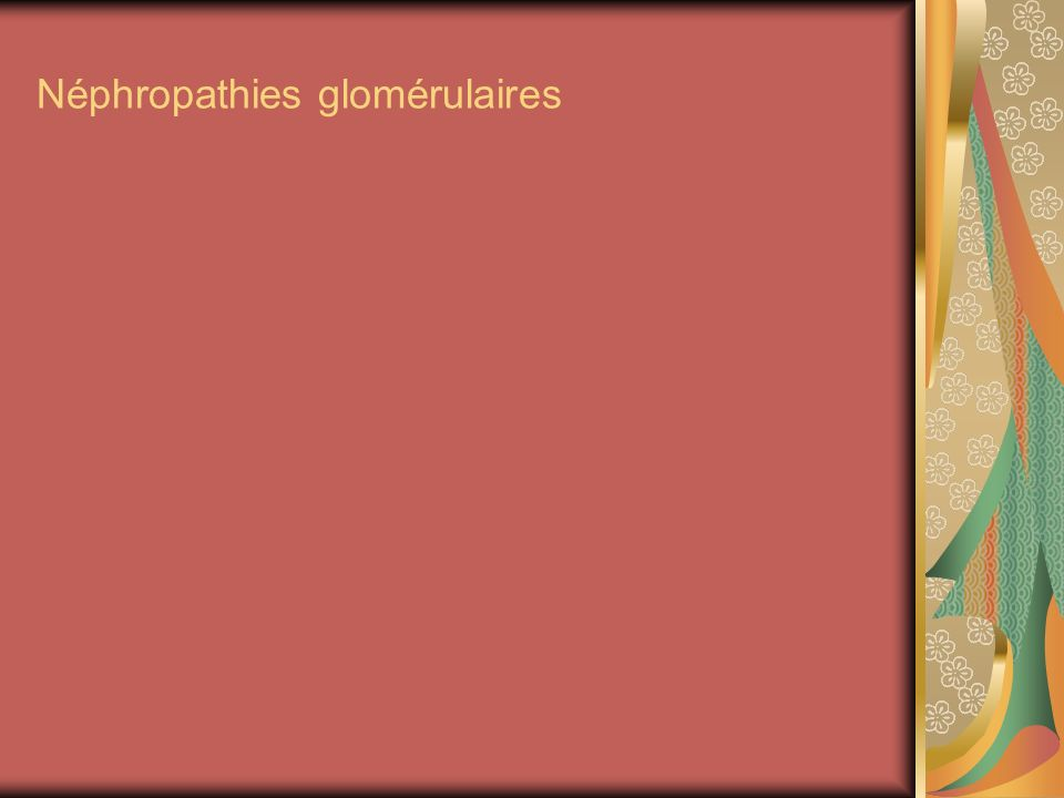 Syndrome néphritique(glomérulonéphrite) Post infectieuse (strepto A) Oedèmes dintensité variable Oligurie HTA Protéinurie variable Protidémie normale Hématurie Insuffisance rénale Évolue souvent vers mal chronique