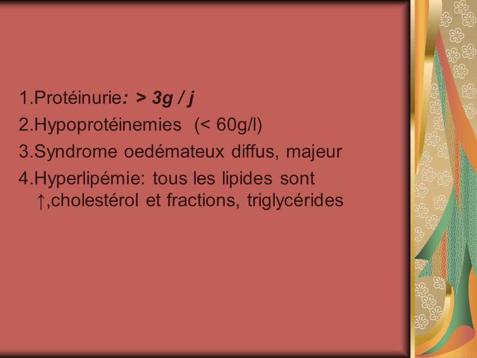 1.Protéinurie: > 3g / j 2.Hypoprotéinemies (< 60g/l) 3.Syndrome oedémateux diffus, majeur 4.Hyperlipémie: tous les lipides sont,cholestérol et fractions, triglycérides