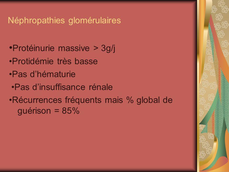 Néphropathies glomérulaires Protéinurie massive > 3g/j Protidémie très basse Pas dhématurie Pas dinsuffisance rénale Récurrences fréquents mais % global de guérison = 85%