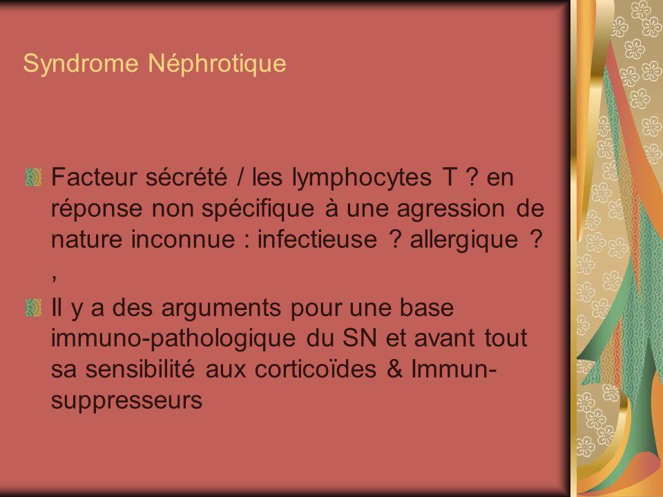 Syndrome Néphrotique Facteur sécrété / les lymphocytes T .