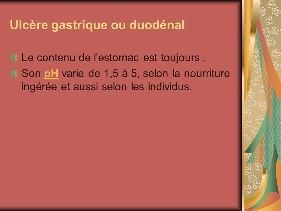 Ulcère gastrique ou duodénal Le contenu de lestomac est toujours. Son pH varie de 1,5 à 5, selon la nourriture ingérée et aussi selon les individus.pH