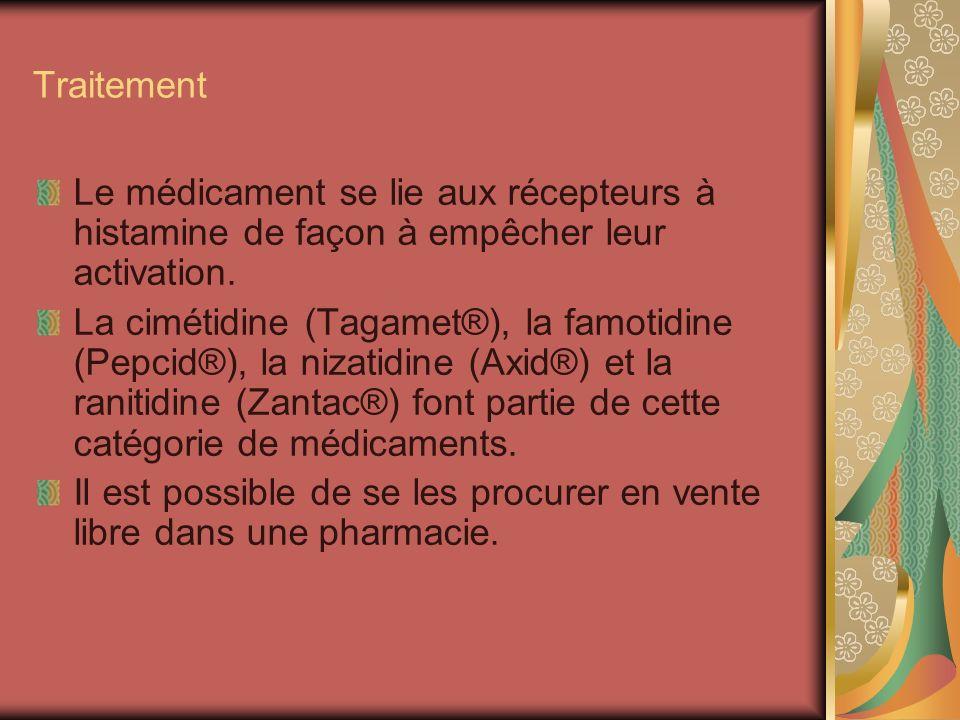 Traitement Le médicament se lie aux récepteurs à histamine de façon à empêcher leur activation. La cimétidine (Tagamet®), la famotidine (Pepcid®), la