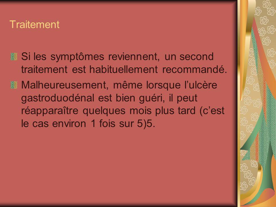 Traitement Si les symptômes reviennent, un second traitement est habituellement recommandé. Malheureusement, même lorsque lulcère gastroduodénal est b